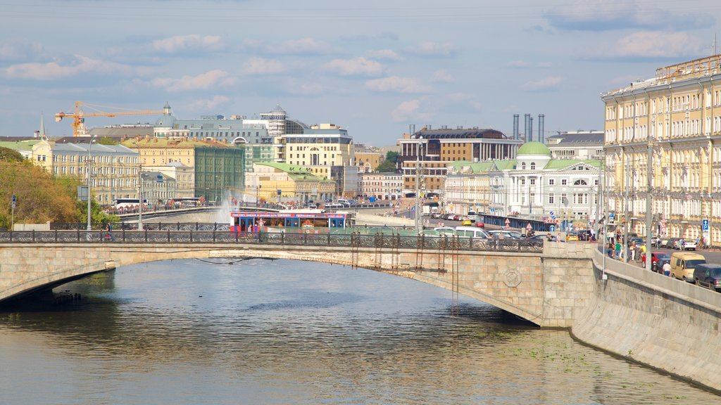 Moscow which includes a river or creek, a city and a bridge