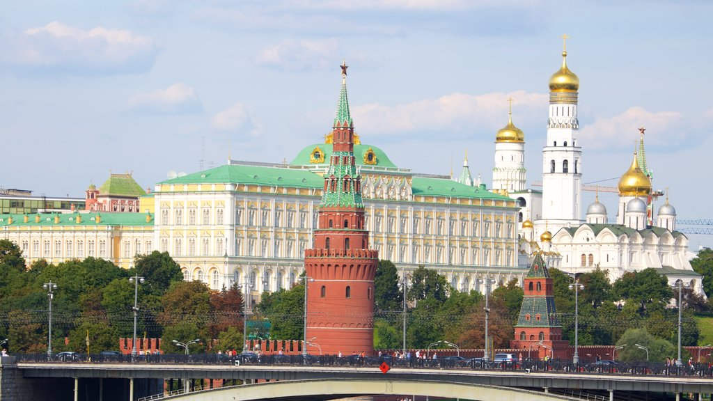 Moscow Kremlin showing a city, a bridge and heritage architecture
