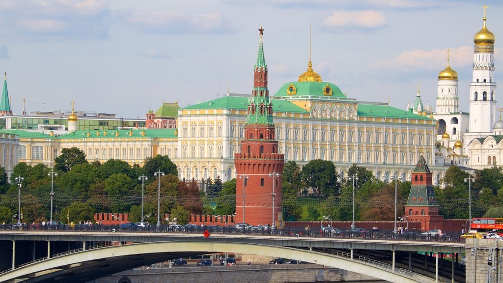 Moscow Kremlin showing heritage architecture, a bridge and a city