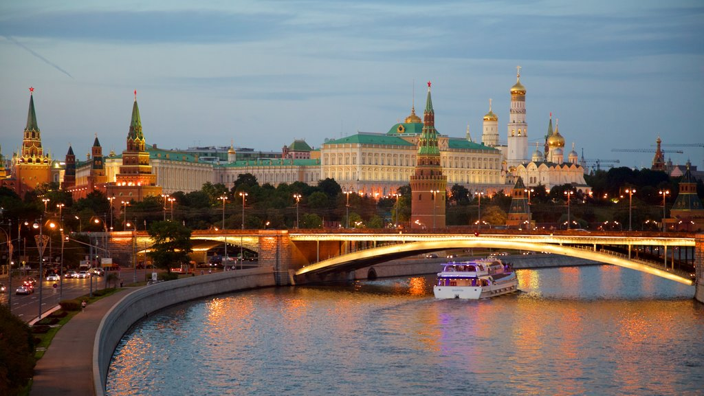 Moscow Kremlin which includes a bridge, a river or creek and heritage architecture