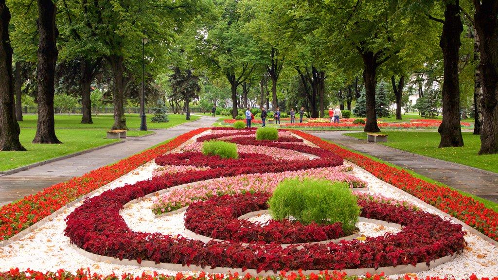 Kremlin de Moscú que incluye flores y un jardín