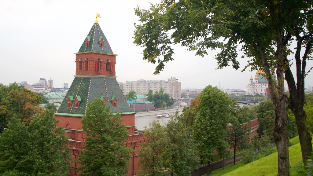Moscow Kremlin showing a city, a park and heritage architecture