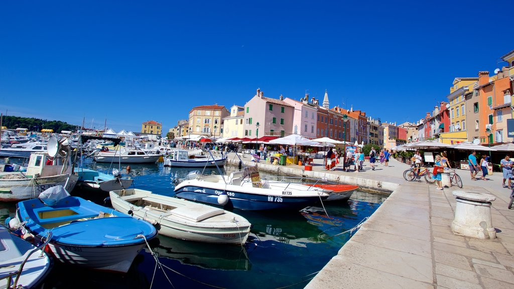 Rovinj Harbour featuring a marina