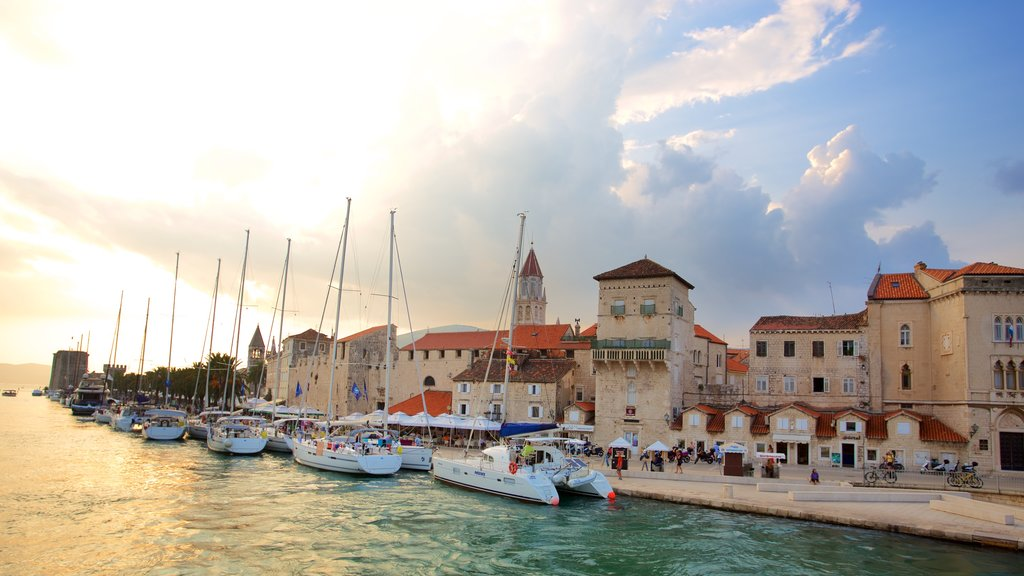 Trogir which includes a marina and a coastal town