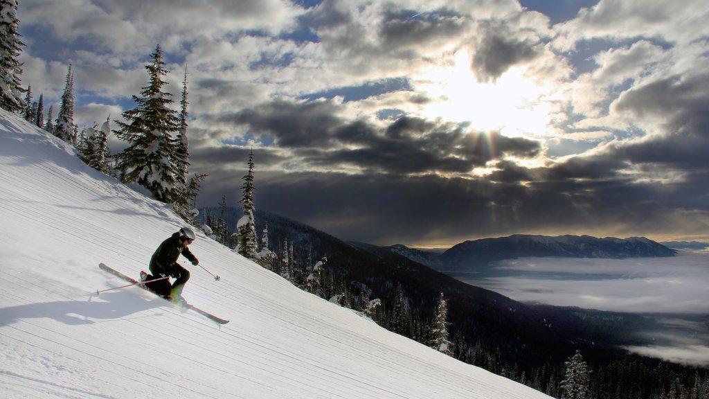 Whitefish mostrando esquiar en la nieve y nieve y también un hombre