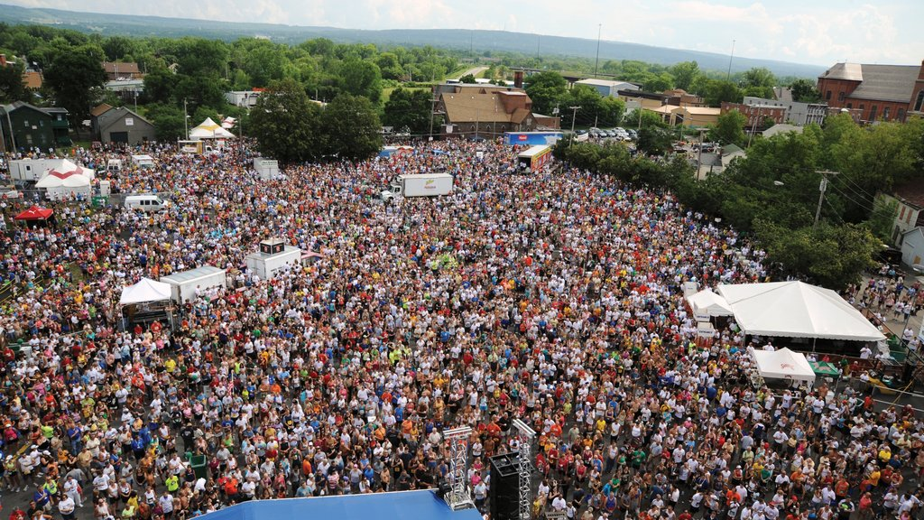 Utica showing a festival as well as a large group of people