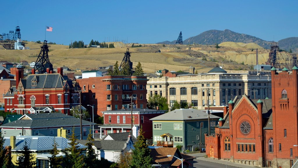 Butte showing heritage architecture, a city and a small town or village