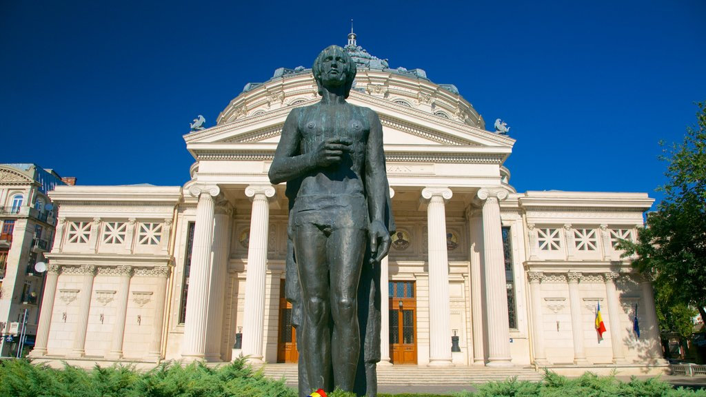 Romanian Athenaeum featuring a statue or sculpture, heritage architecture and theater scenes