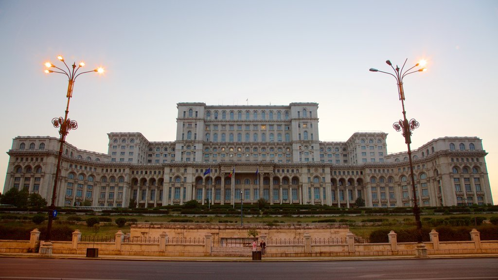 Palace of the Parliament which includes a sunset, heritage elements and heritage architecture