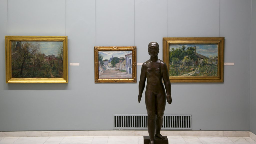 National Museum of Art of Romania which includes interior views, a statue or sculpture and art
