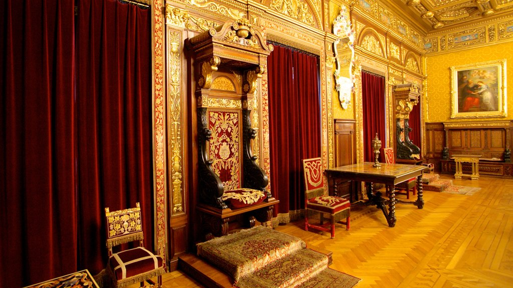 Peles Castle which includes interior views, a castle and art