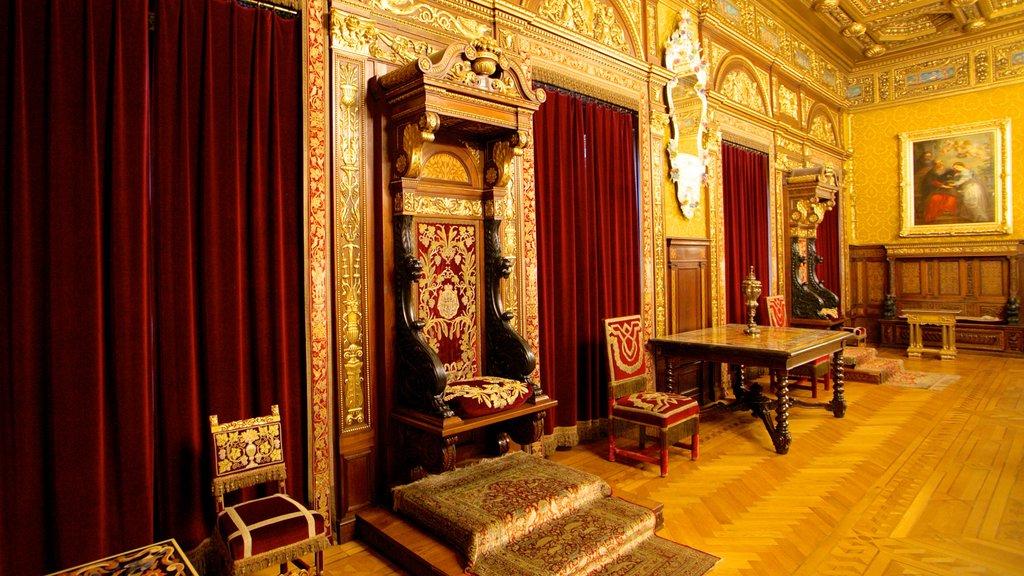 Castillo de Peles que incluye castillo o palacio, vistas interiores y arte