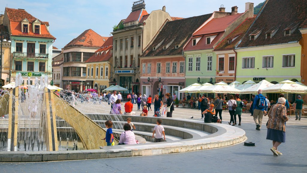 Brasov featuring a fountain, a square or plaza and a city