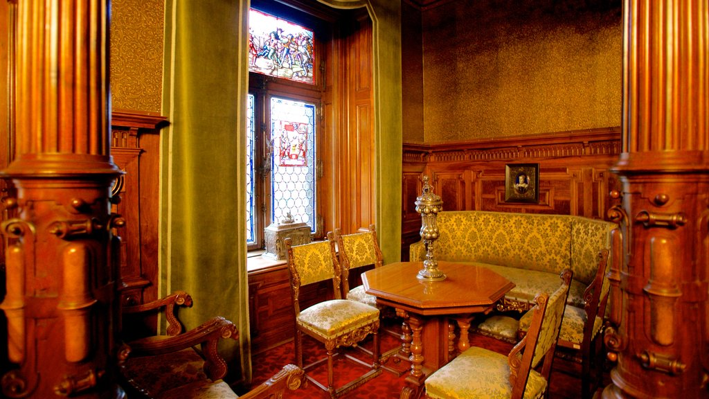 Peles Castle which includes interior views and chateau or palace
