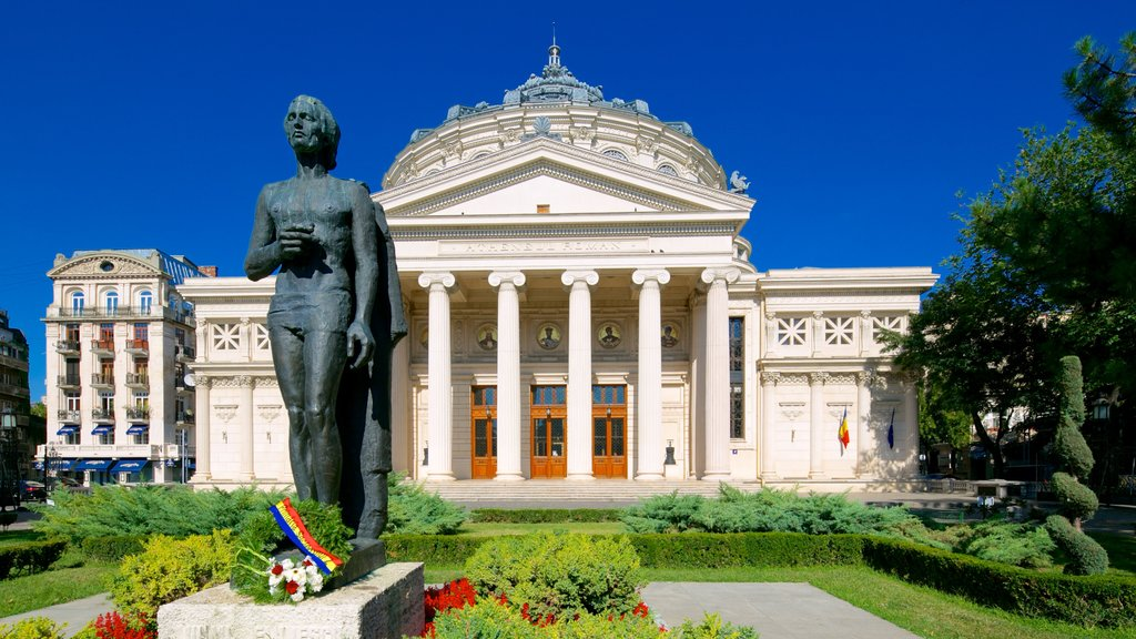 Romanian Athenaeum showing heritage architecture, a park and theater scenes