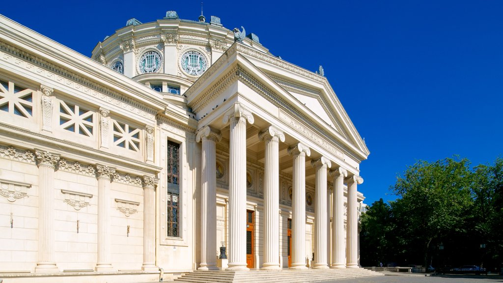Romanian Athenaeum which includes heritage architecture and theater scenes