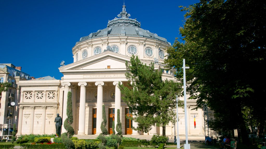 Romanian Athenaeum showing a garden, heritage architecture and theater scenes