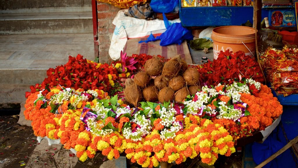 Durga Temple showing food and flowers
