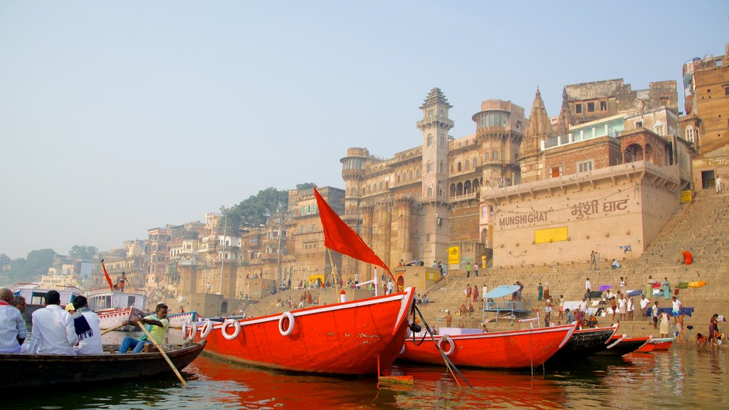 Varanasi which includes boating, a bay or harbor and a coastal town