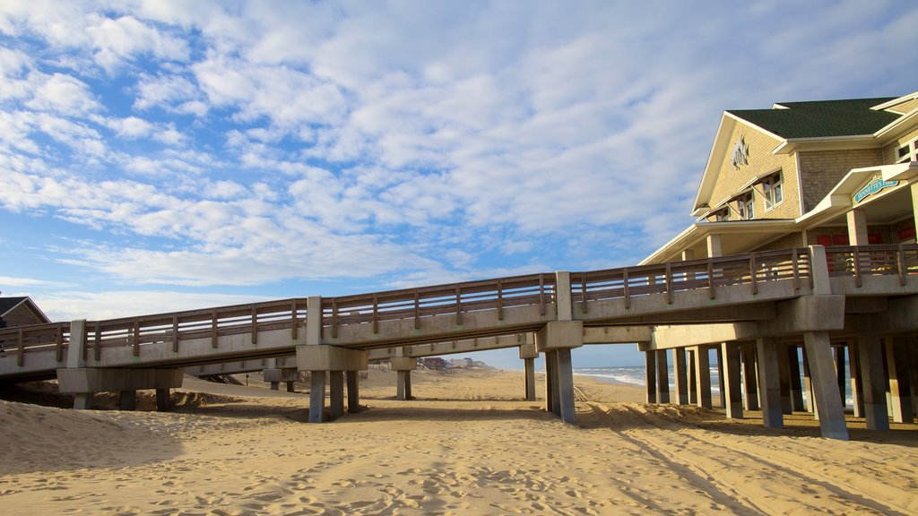 Outer Banks showing a beach and a bridge