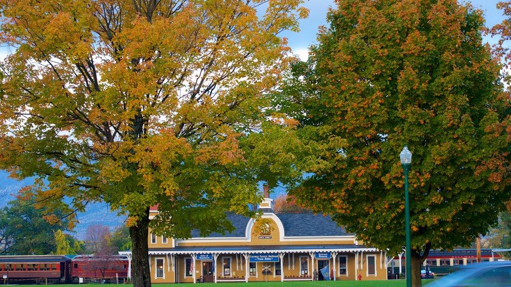North Conway que incluye los colores del otoño y artículos de ferrocarril