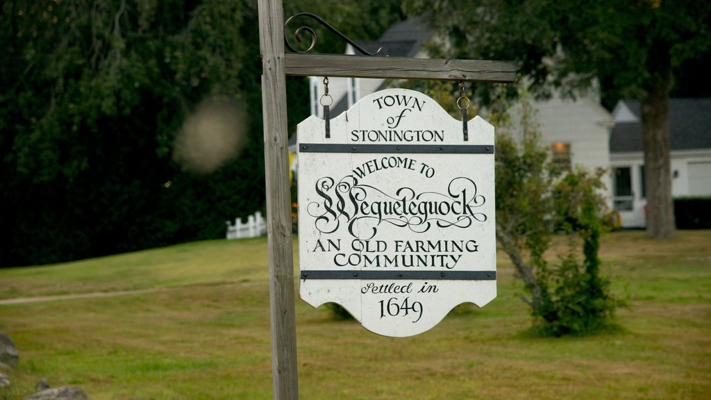 Stonington which includes signage