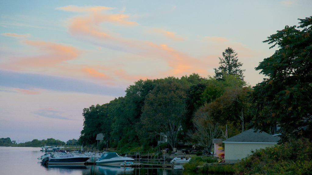 Stonington showing a bay or harbor and a sunset