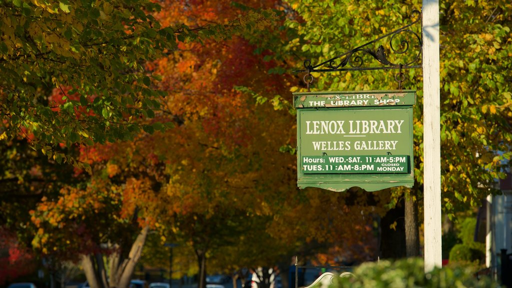 Lenox which includes signage and autumn leaves