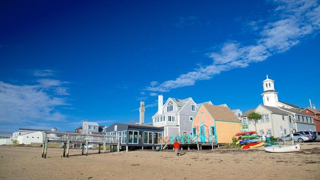 MacMillan Pier showing a beach and a coastal town