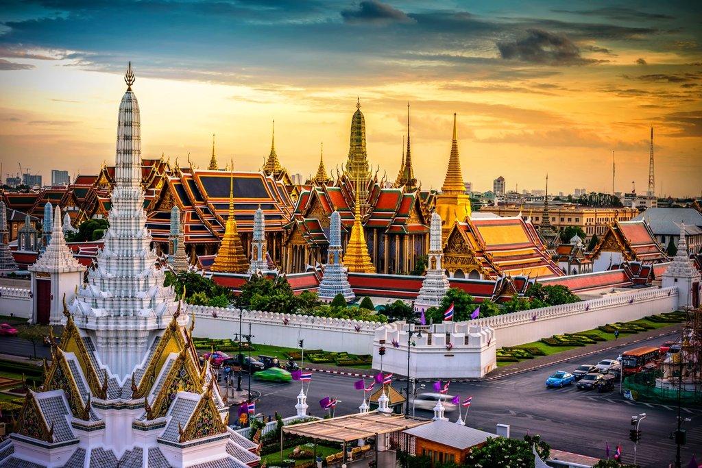 Grand palace and Wat phra keaw at sunset bangkok Thailand Shutterstock.jpg