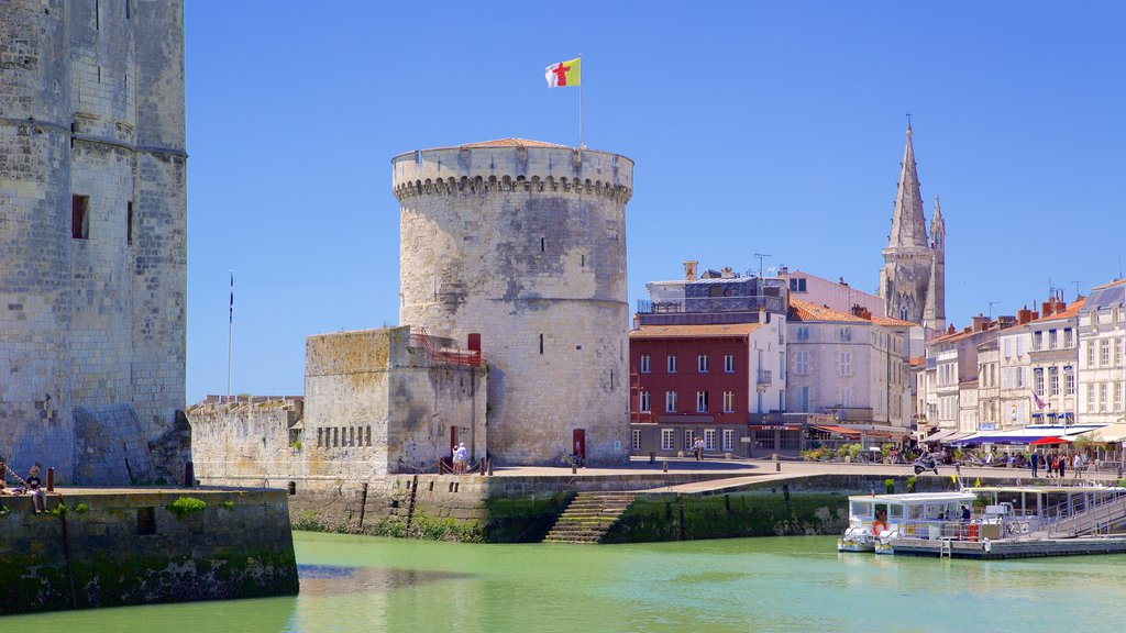La Rochelle which includes a coastal town and heritage elements