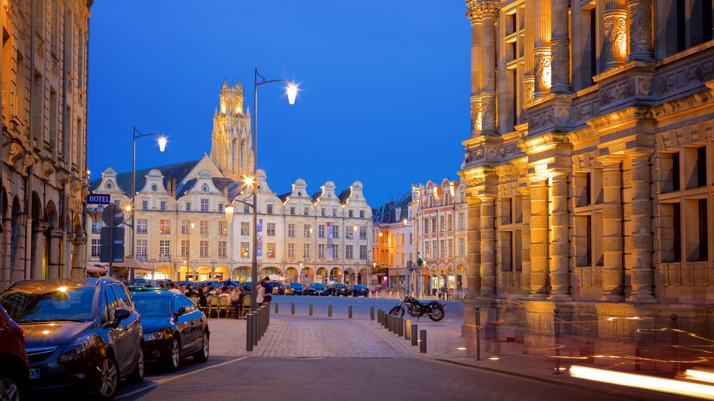 Place des Heros which includes a square or plaza, heritage elements and night scenes