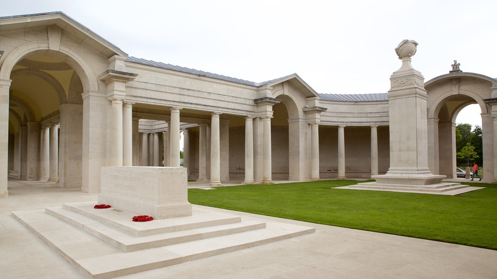 Arras War Cemetery showing heritage elements and a memorial