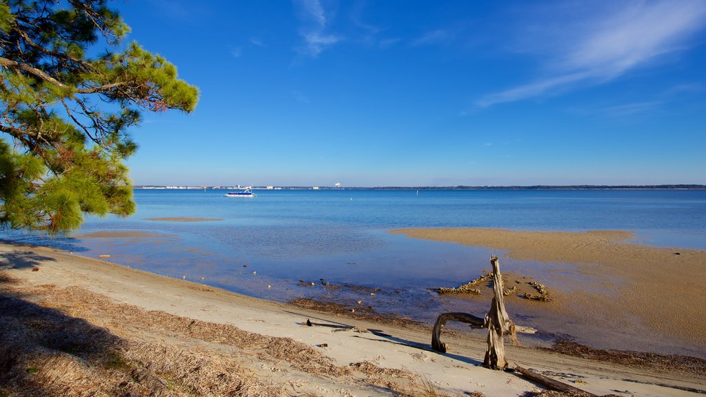 Upper Grand Lagoon showing a sandy beach