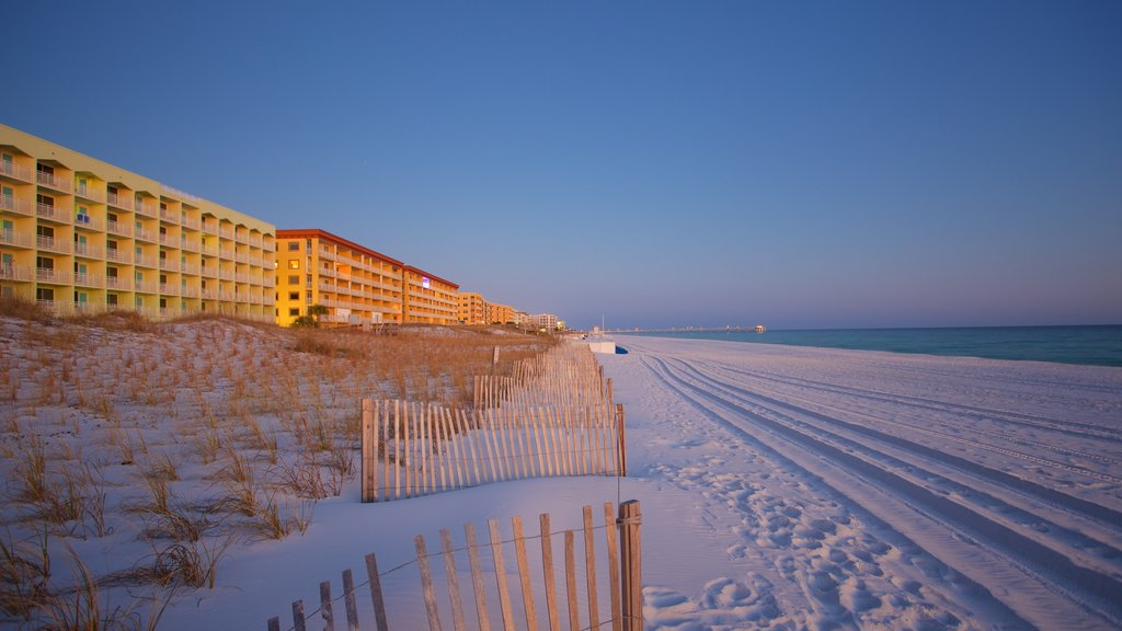 Okaloosa Island which includes a beach and a hotel
