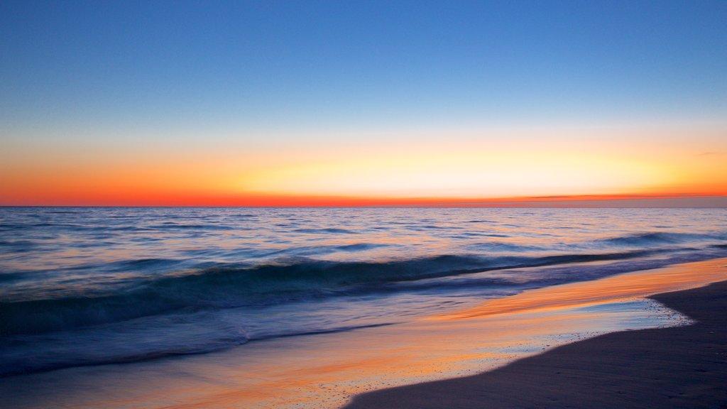 Okaloosa Island showing a sunset and a sandy beach