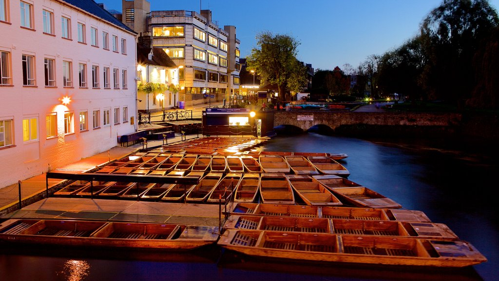 Cambridge featuring night scenes, a river or creek and kayaking or canoeing