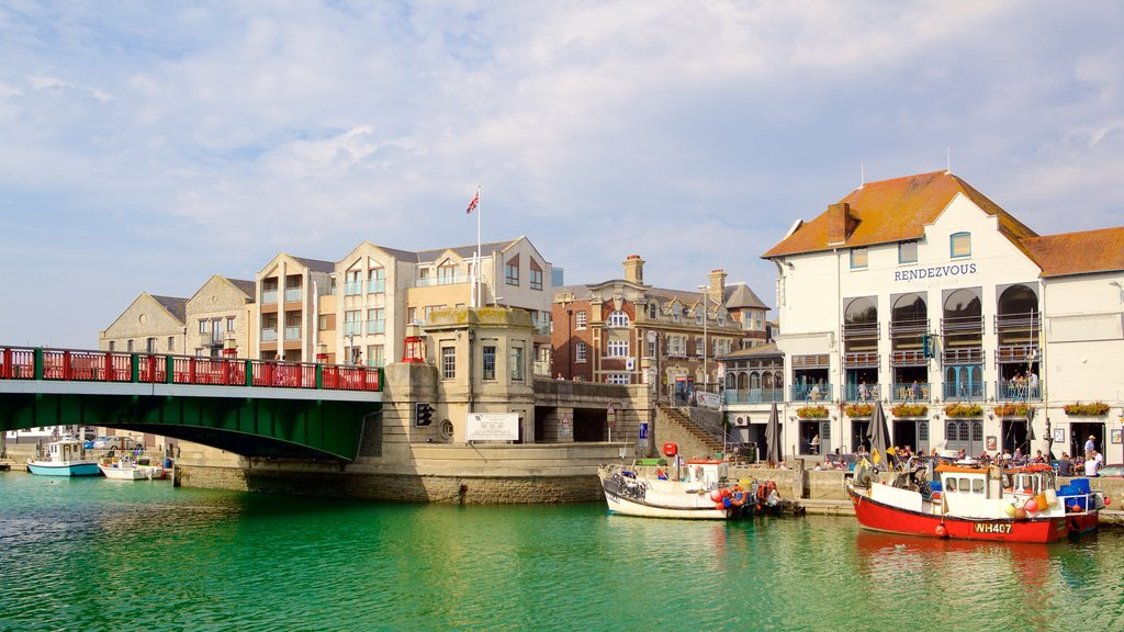 Weymouth which includes a bridge, boating and a bay or harbor