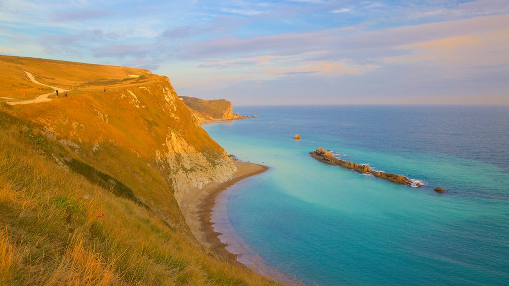 Durdle Door which includes a bay or harbor, general coastal views and tranquil scenes