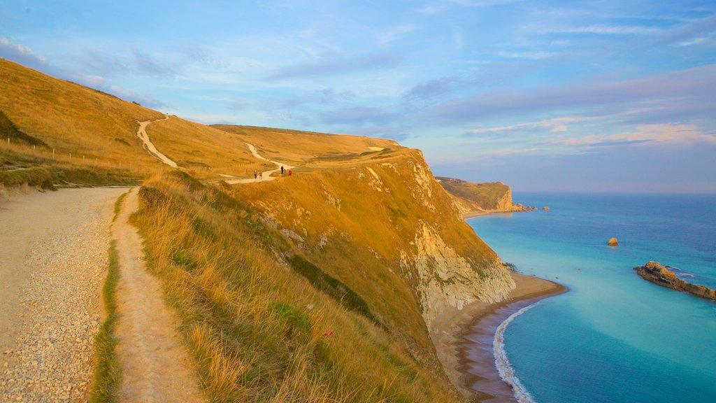Durdle Door que incluye escenas tranquilas y vistas generales de la costa