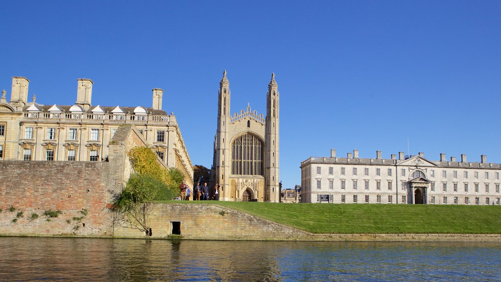 King\'s College Chapel featuring a river or creek, heritage elements and a church or cathedral
