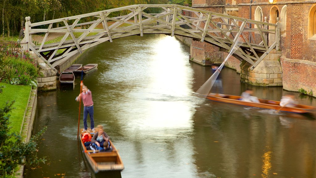 Mathematical Bridge showing a bridge, kayaking or canoeing and a river or creek