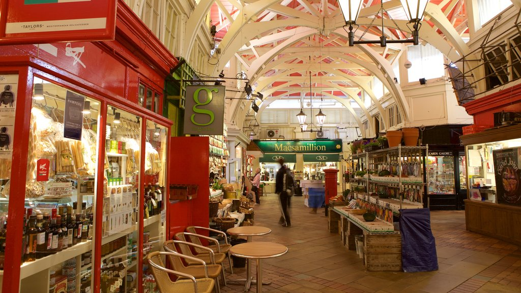 Covered Market which includes cafe scenes and shopping