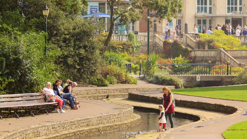 Bournemouth Lower Gardens showing a park and a river or creek as well as a family