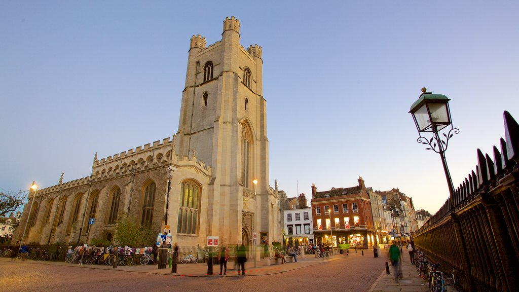 Cambridge City Centre featuring a sunset, a church or cathedral and heritage architecture