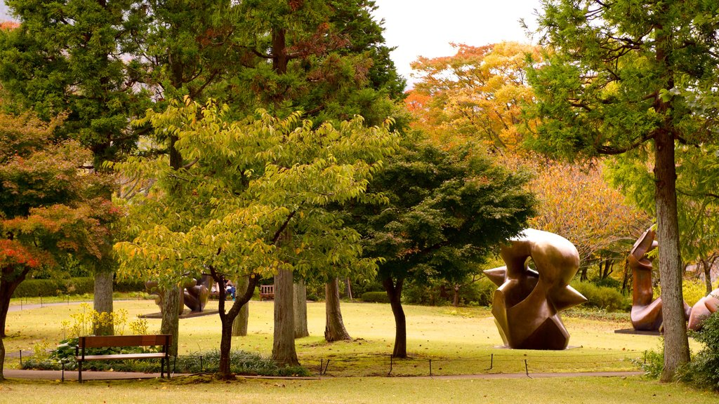 Hakone Open Air Museum featuring a garden and a statue or sculpture