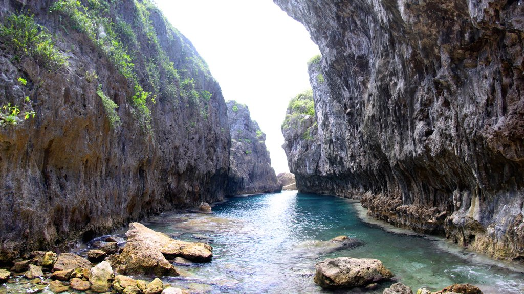 Matapa Chasm featuring rugged coastline and a gorge or canyon