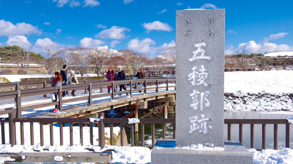 Hakodate which includes snow and signage
