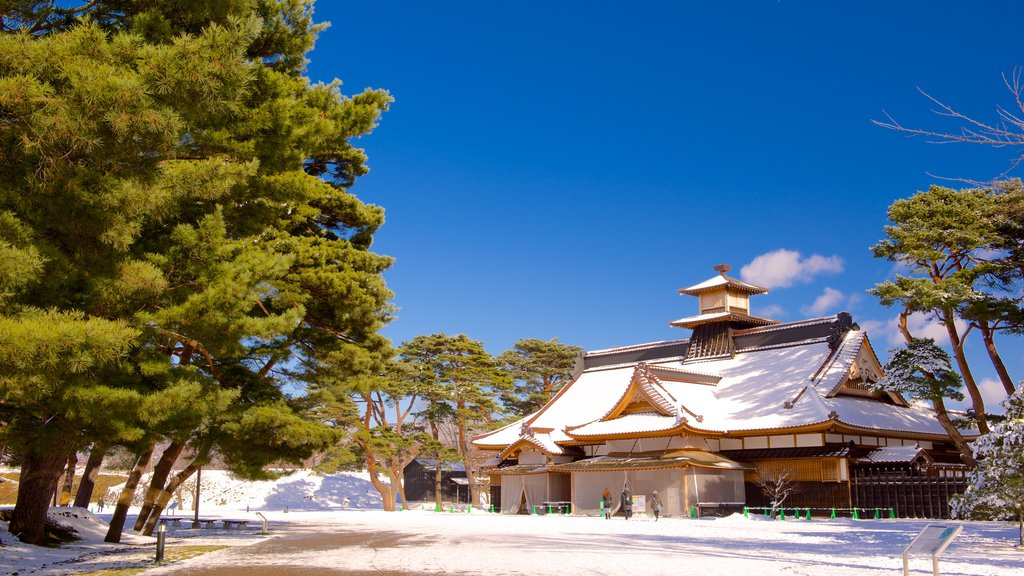 Fort Goryokaku featuring a temple or place of worship and snow