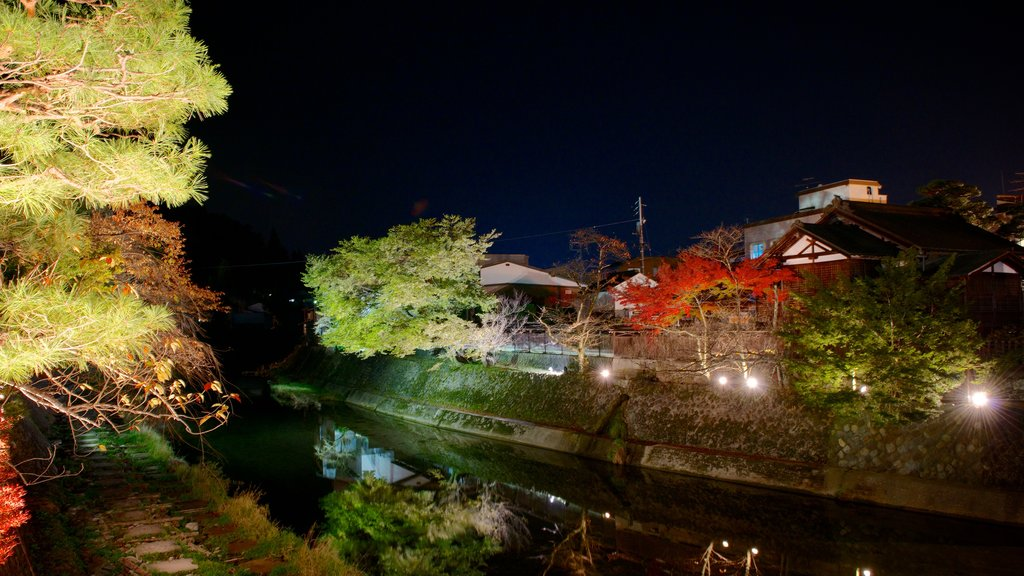 Takayama showing night scenes and a river or creek